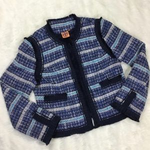 TORY BURCH Blue Tweed Blazer